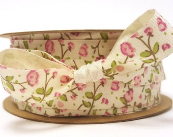 Delicate Pink Floral Print on 18mm Ivory Soft Cotton Ribbon