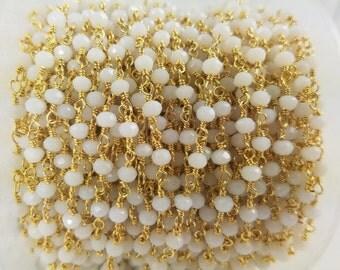 3 - 4 mm, White Hydro Quartz Brass w/Gold Rosary Chain