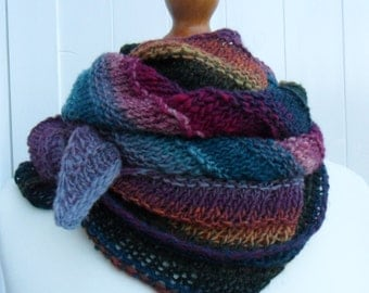 Hand Knitted Textured Striped Wide Asymmetric Bias Knit Pure Wool Shawl / Wrap - Ready to Ship!