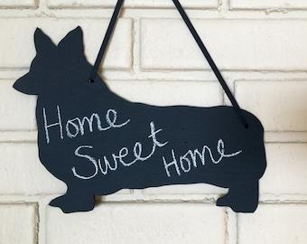 Welsh Corgi - Pembroke - Handmade Chalkboard  Wall Hanging - Dog Shadow Silhouette - Country Decoration - Great Gift -Wedding Sign