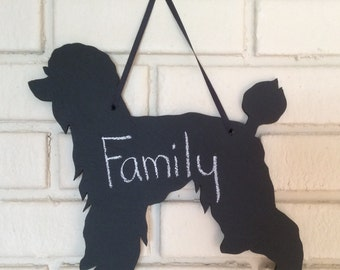 Poodle Handmade Chalkboard Wall Hanging - Dog Shadow Silhouette - Country Decoration -Great Gift