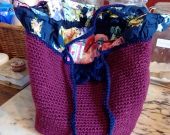 crochet mini tote bag, handbag, with floral cotton lining and handmade bows