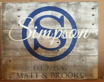 last name Sign,  Personalized Wedding Gift, wooden Last Name Sign, rustic wood sign, pallet Name Sign, wedding gift, CIRCLE