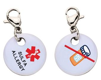 Sulfa Allergy Medical Alert Bracelet Charm, Medical ID, Large - 84