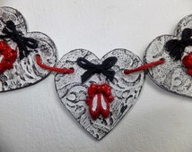 Ballet theme Bunting/String of Hearts hand made from recycled cardboard