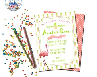 Flamingo Invitation, Flamingo Party Invitation, Let's Flamingle Invitation, Flamingo Birthday Party Invitation