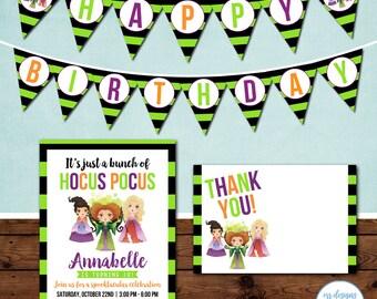 Hocus Pocus Party Package, Hocus Pocus Birthday Invitation, Witch Party Invite