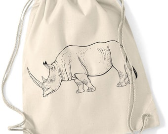 Hand printed Gym Bag / Sports Bag / gym sac/ cotton bag with rhino motive/print Black / White / Ecru 37 x 46 cm
