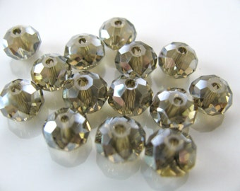 Crystal beads, faceted beads, 14 beads, 5x8mm, misty grey - 747