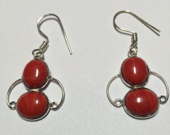Classic Red Coral Dangling Earrings