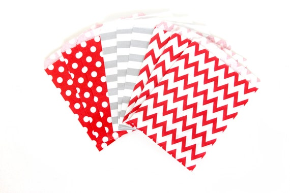 Red and Silver Treat Bags in Chevron Dot and Stripe , Red Silver Treat Bags, Silver Popcorn Glitter Christmas Decor