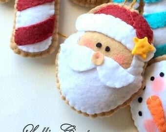 PDF Felt Christmas Ornaments/Felt Christmas Decorations-Felt Ornaments-Christmas Cookies-Felt Ornament Set-Christmas Set