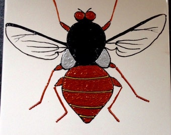 Fly Ceramic Tile Painting. Original.  plaque creepy crawlie bug insect