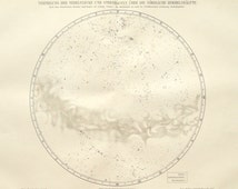 Star chart northern hemisphere original 1895 astronomy print - Nebula, star map - 121 years old German antique engraving illustration (B772)