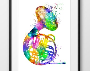 French Horn Print, French Horn Watercolor Poster, Music Art Print, Music Wall Art, Music Instrument Poster, French Horn Decor (A0280)