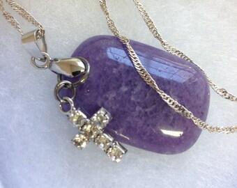 Purple stone pendent,cross pendant,gem stone,Birthday gift,Valentine gift,Anniversary gift,Christmas gift,Mothers day gift,gift for her