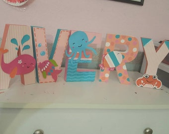 Under the sea crib set letters