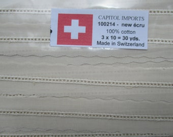 Swiss Entredeux in White or Ecru