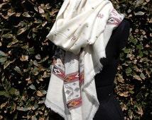 himalayan handwoven wool and angora shawl blanket throw graphic design Ivory white luxury vintage