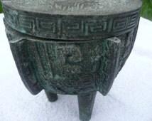 Sale!!! Antique Century Oriental Bronze Tibetan Temple Urns Jars Planters Interiors three feet