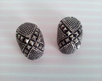 Punk Style Studded Earrings Silvertone Clip On FREE SHIPPING
