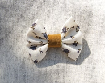 Navy Floral & Mustard Bow