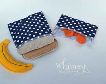 Navy Polka Dot sandwich bags, Lunch set, reusable sandwich bag, reusable snack bag, ecofriendly lunch set
