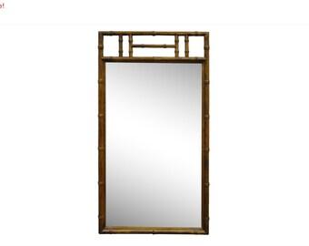 10% Off Sale! Vintage Mid Century Modern Hollywood Regency Oak Wood Faux Bamboo Wall Mirror