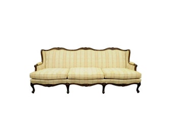 Vintage Bernhardt Louis XV French Country Style 8 Leg Carved Walnut Sofa Couch