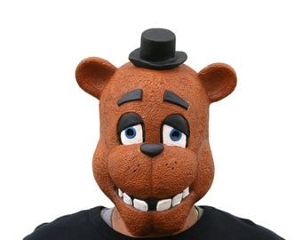 FNaF Full Head Freddy Fazbear Five Nights at Freddy's Teen Adult Latex Mask - Great for Birthday Parties Cosplay Toy Costume Picture Booth