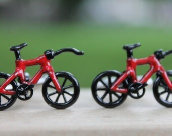 Red Bicycle Cufflinks Fixed Track Bike