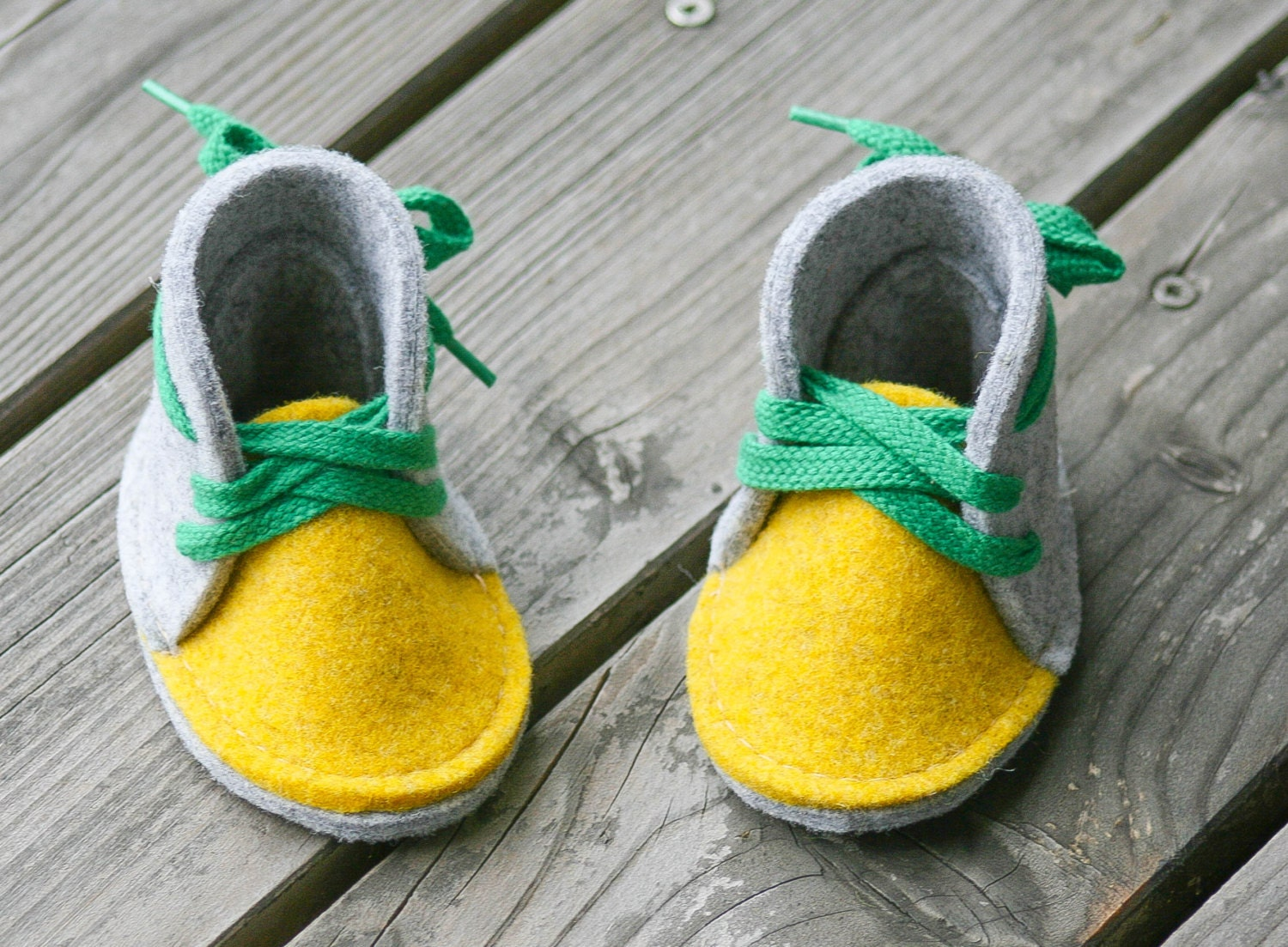Soft Sole Baby Shoe Felt Baby Booties Baby Boy Shoes Yellow
