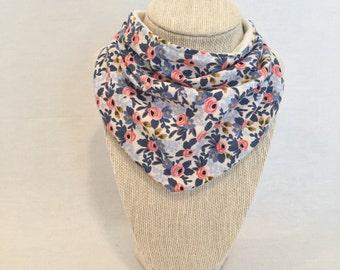 Bib - Scarf Bib - Bibdana - Bandana Bib - Drool Bib - Organic Bamboo/Cotton Terry - Periwinkle/blue/pink Floral