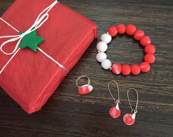 Mother's day gift.  Red jewellery. Stretch bangle. Adjustable ring. Red drop earrings.  Gift for her. Unique gift. Red statement jewellery