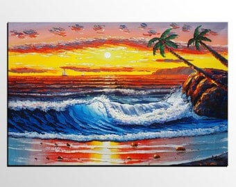Large Oil Painting, Abstract Art, Wall Art, Original Painting, Palm Tree Painting, Canvas Painting, Large Painting, Hawaii Seashore Painting
