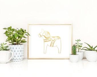 Swedish Dala Horse in Gold Foil  (8x10 or 5x7)