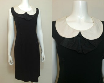 Vintage 1960s Mod Black Dress with White Peter Pan Collar
