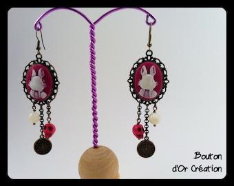Earrings Alice rabbit pink.