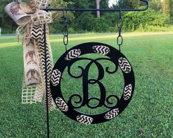Superb Monogram Garden Flag With Ribbon Holes   Garden Flag   Personalized Garden  Flag   Monogram Yard