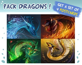 Dragon pack : 4 postcards
