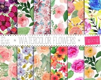 """Watercolor flower digital paper : """" Watercolor Flowers """" floral digital paper pack, watercolor roses, wedding digital paper, elegant paper"""