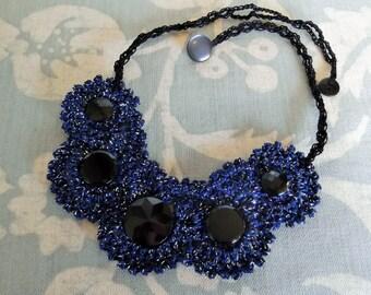 Beautiful Vintage Black Glass Button Crocheted Bib Necklace