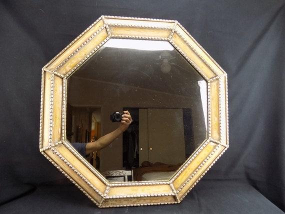 """Antique Wall Mirror Octagon Gessoed Frame 20"""" Vintage Condition"""