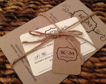 SAMPLE Rustic Twine Vintage Brown/Recycled Card Wedding Invitations Bundles DIY!