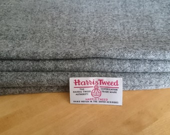 Harris Tweed Cloth Fabric Silver Grey Gray Luxury Handwoven 100% Pure Virgin Wool handwoven in Outer Hebrides Scotland