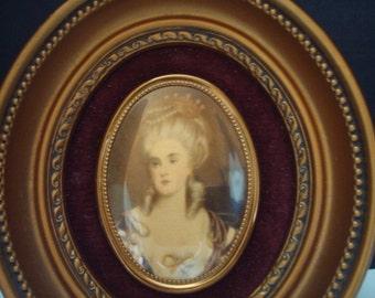 Vintage Cameo Creation enamel portrait of Mme Lambert de Morigne