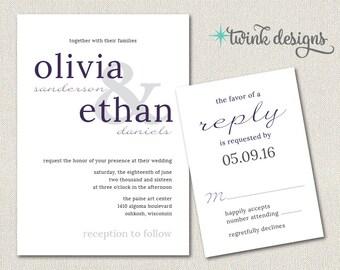 Modern Printable Wedding Invitation   Purple Wedding Invitation   DIY Wedding Invitation