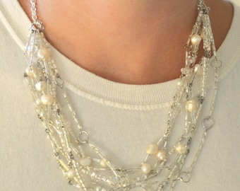 White and Silver Glass Bead Necklace