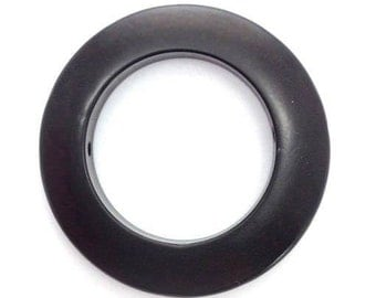 Tagua ring large, black, 30mm, 1 piece, two hole