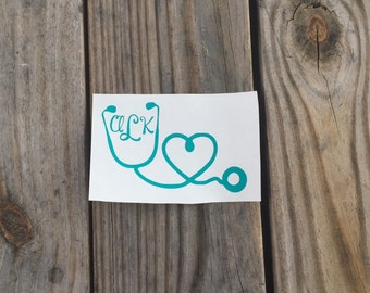 Stethoscope Decal~ Nurse Decal ~ Monogrammed Stethoscope Decal